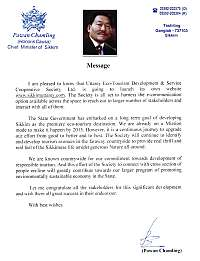 Message from CM Mr. Pawan Chamling