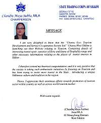 Message from Chandra Maya Subba [MLA, Chairperson STCS]