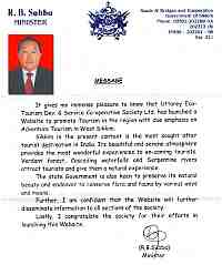 Message from R.B Subba [Minister :: Sikkim]